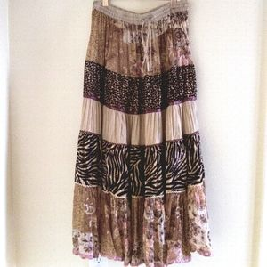ANÜ BY NATURAL Tiered Multi Textured Maxi Skirt